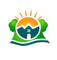 logo real estate house sun and tree vector image vector image