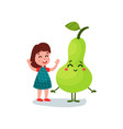 lovely little girl having fun with giant pear vector image vector image