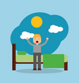 man waking up in the morning vector image