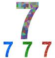 Mosaic font design set - number 7 vector image vector image