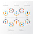 music icons flat style set with play list ear vector image vector image