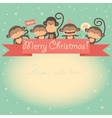 New Year funny card with monkeys and ribbon vector image