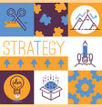 outline strategy icons banner light bulb vector image