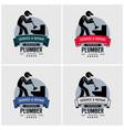 plumber logo design artwork of plumbing repair vector image vector image