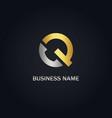 q initial gold logo vector image