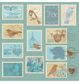 Retro bird postage stamps vector | Price: 1 Credit (USD $1)