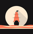 sailing ship in the sea flat style medieval vector image