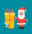 santa claus greets standing near gift boxes vector image