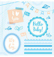 set elements hello baby boy vector image