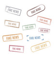 set stamps fake news vector image vector image