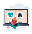 shopping online on website or mobile application vector image vector image