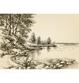 small beach background hand drawn nature corner vector image