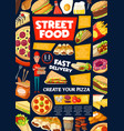 street and fast food snacks menu delivery service vector image vector image