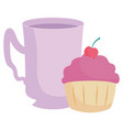 sweet cupcake design vector image vector image