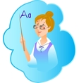 teacher profession on blue background vector image vector image