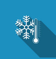 thermometer with snowflake icon with long shadow vector image vector image