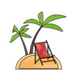 tropical island with palm trees icon image vector image vector image