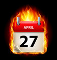 twenty-seventh april in calendar burning icon on vector image vector image