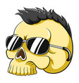 yellow dead head skull with punk hair and vector image vector image