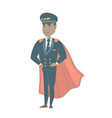 young african-american pilot dressed as superhero vector image vector image