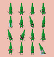 beer bottle character emoji set vector image