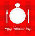 happy valentines day menu card fork plate knife vector image