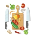 Cutting board and vegetables Cooking card poster vector image