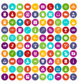 100 hacking icons set color vector image vector image