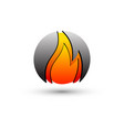 3d flame round logo design concept template vector image