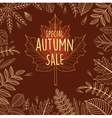Autumn sale poster with outline leaves vector image vector image