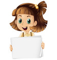 blank sign template with cute girl on white vector image vector image