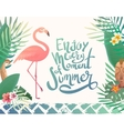Bright summer with lettering vector image vector image