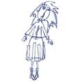 cartoon silhouette a girl vector image vector image