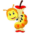 caterpillar eating apple cartoon vector image