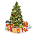 christmas pine tree with garland vector image