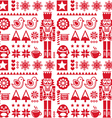 Christmas seamless red pattern with nutcracker vector image