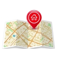 City map with label home pin vector image vector image
