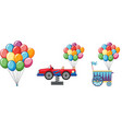colorful balloons with car and cart