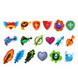 colorful game interface elements heart with wings vector image vector image