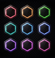 colorful neon hexagon banners set hexagonal logo vector image vector image