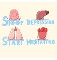 Cute internal organs meditating and struggling vector image vector image