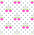 cute pattern pink cherry seamless vector image vector image