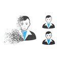 dispersed pixelated halftone guy icon with face vector image vector image