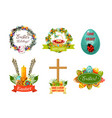 easter spring holiday cartoon symbol set vector image vector image