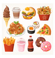 fast food takeaway meals and snacks vector image vector image