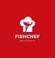 fish chef hat logo icon vector image
