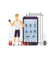 fitness app - modern cartoon character vector image vector image