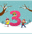 flashcard for learning to counting number 3 vector image vector image