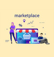 flat design banner of e-commerce and e-shopping vector image