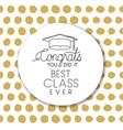 graduating lettering card with hat graduation vector image